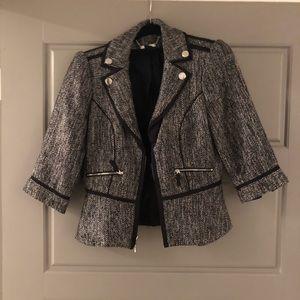 Black and Grey Tweed Suit Blazer
